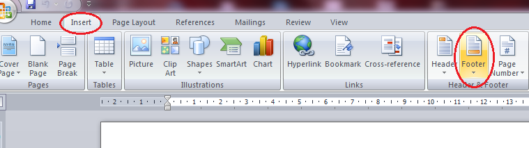 how to add a footer to 1 page in word